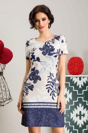 Rochie eleganta scurta de zi cu imprimeu floral si decolteu rotund