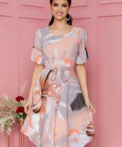 Rochie eleganta somon in clos cu imprimeu floral si volanase la maneci