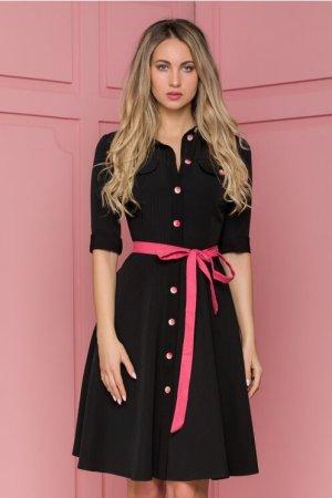 Rochie neagra cu nasturi si cordon roz in talie