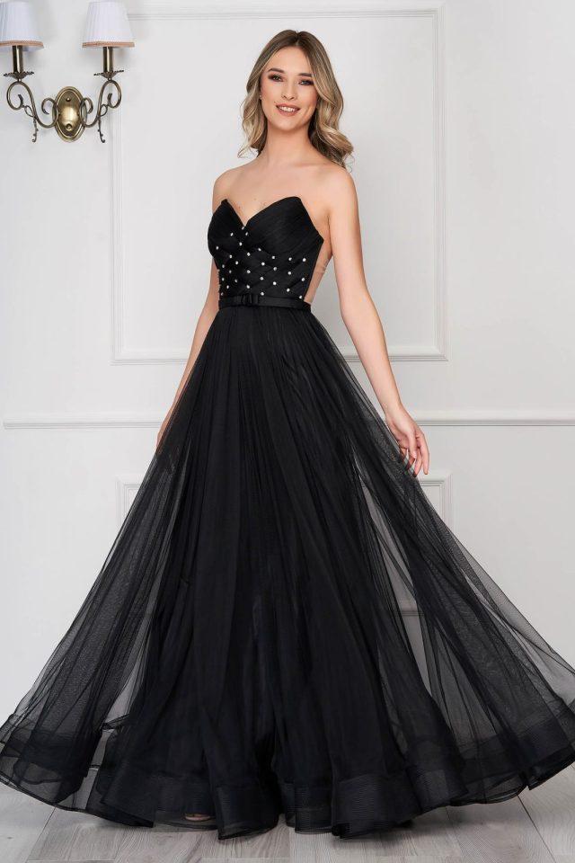 Rochie neagra de lux tip corset din tul captusita pe interior cu pietre strass de ocazie