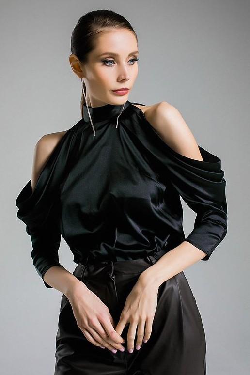 Bluza dama eleganta neagra cu umerii goi si guler inalt din satin
