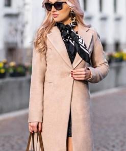 Palton dama bej scurt drept cu un singur nasture din stofa