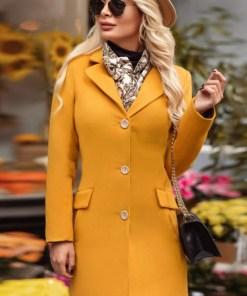 Palton dama mustar scurt cambrat din stofa