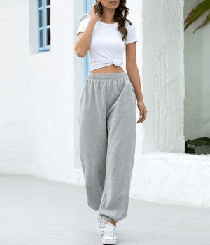Pantaloni lejeri de sport gri cu elastic la talie