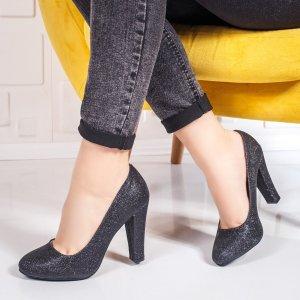 Pantofi dama cu toc negri Nosaria