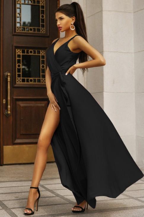 Rochie de seara eleganta si rochie de ocazie lunga neagra cu cordon din satin