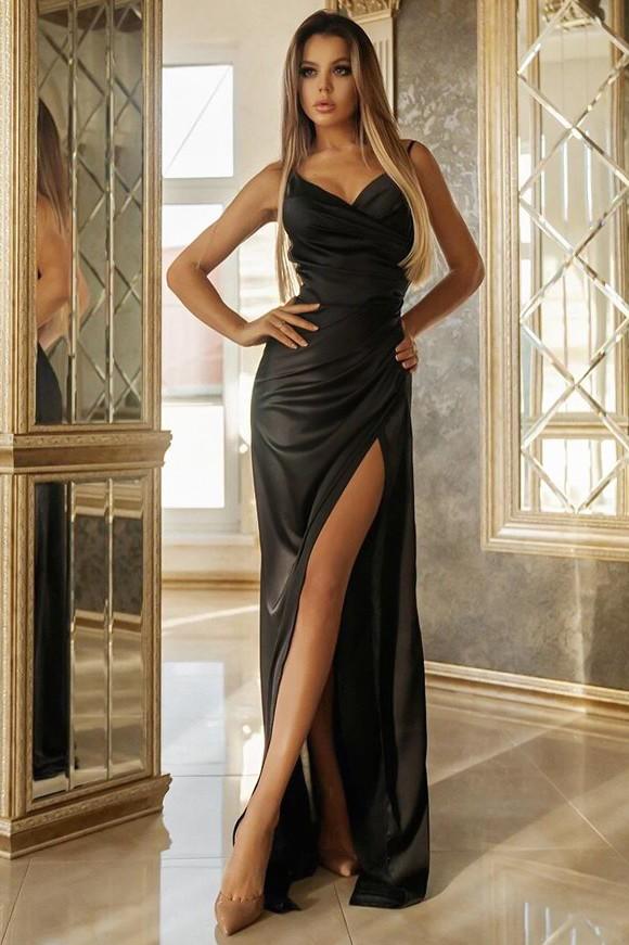 Rochie de seara eleganta si rochie de ocazie lunga neagra cu slit din satin
