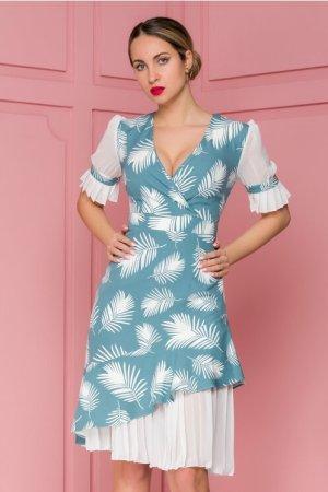 Rochie eleganta cu imprimeu cu frunze si decolteu in v