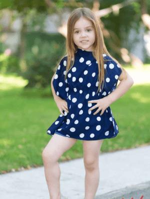 Rochie scurta bleumarin cu buline albe pentru fetite
