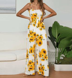 Salopeta cu imprimeu floarea soarelui