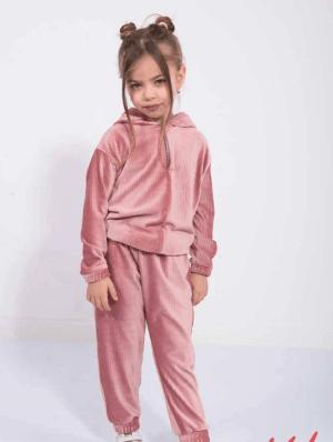 Trening pentru fetite din catifea roz prafuit
