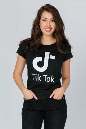 Tricou Tik Tok negru cu imprimeu