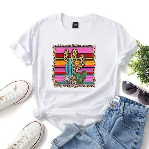 Bluza de vara casual cu imprimeu si decolteu rotund