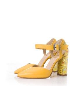 Pantofi galbeni din piele intoarsa cu imprimeu colorat pe toc