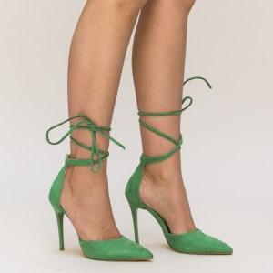 Pantofi verzi cu toc din imitatie de catifea