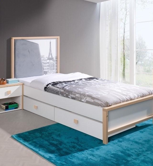 Pat din lemn de fag si pal, cu 2 sertare pentru copii Bento, 200 x 90 cm