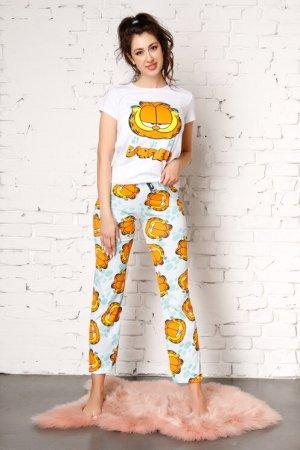 Pijama Garfield cu pantaloni verde mint si imprimeu