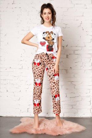 Pijama cu Minnie Mouse si pantaloni cu animal print