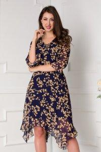 Rochie eleganta midi bleumarin cu imprimeuri maro si decolteu in V