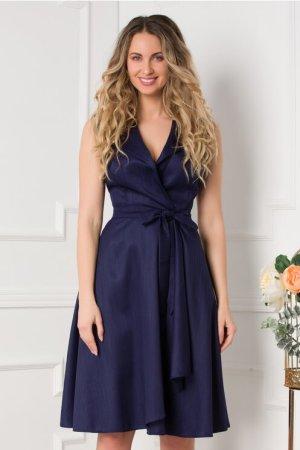 Rochie eleganta midi bleumarin petrecuta cu decolteu in V