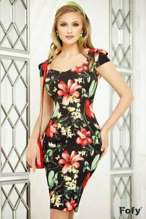 Rochie eleganta neagră cu imprimeu floral și decolteu in V