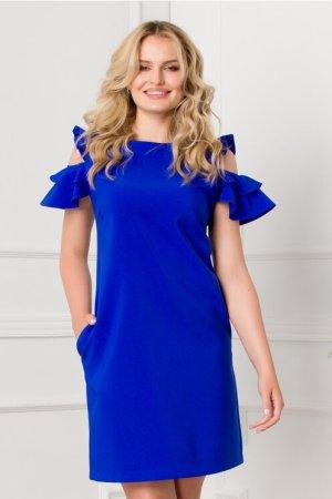 Rochie eleganta scurta albastra cu decupaje la umeri si buzunare