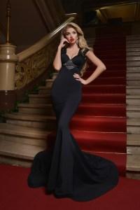 Rochie lunga neagra eleganta tip sirena cu decupaj la spate