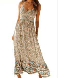 Rochie maxi de vara bej cu imprimeu floral