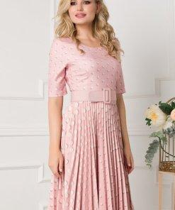 Rochie roz cu fusta plisata si imprimeu cu buline