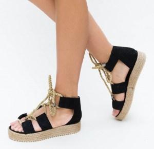 Sandale cu talpa joasa negre din piele eco intoarsa