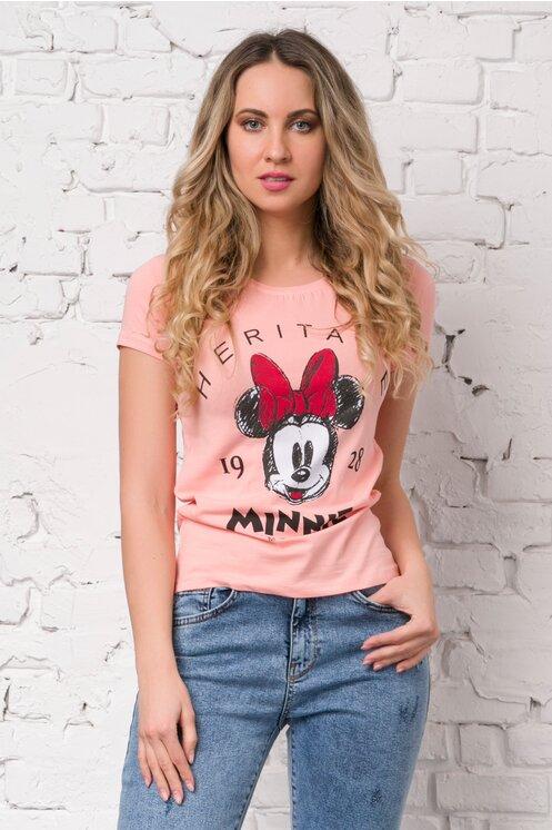 Tricou Minnie Mouse roz