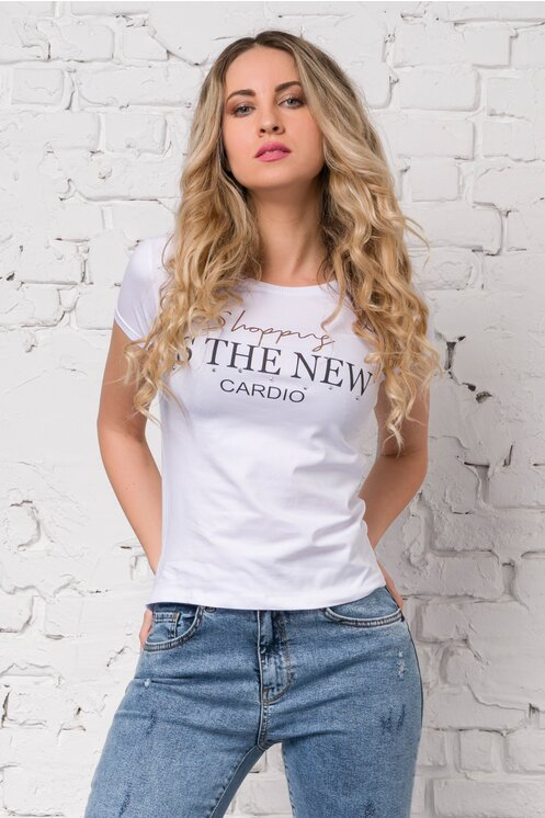 Tricou alb cu imprimeu text