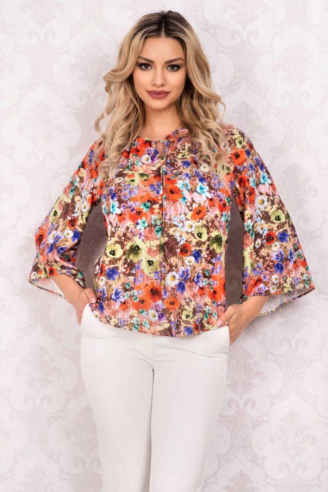 Bluza cu imprimeu floral multicolor