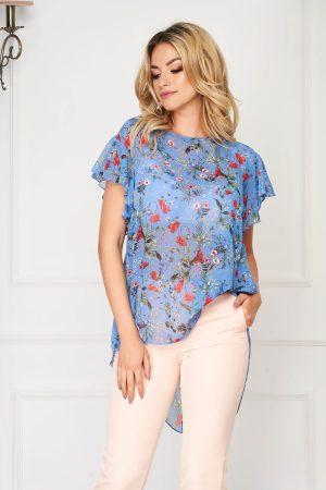 Bluza dama albastra eleganta asimetrica din voal cu croi larg