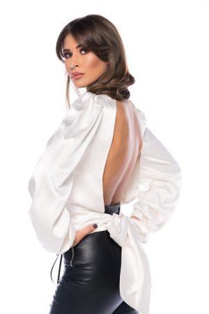 Camasa alba eleganta din matase cu spatele gol