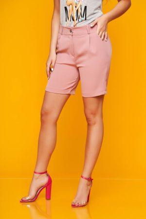 Pantalon scurt roz prafuit casual mulat din stofa elastica cu buzunare