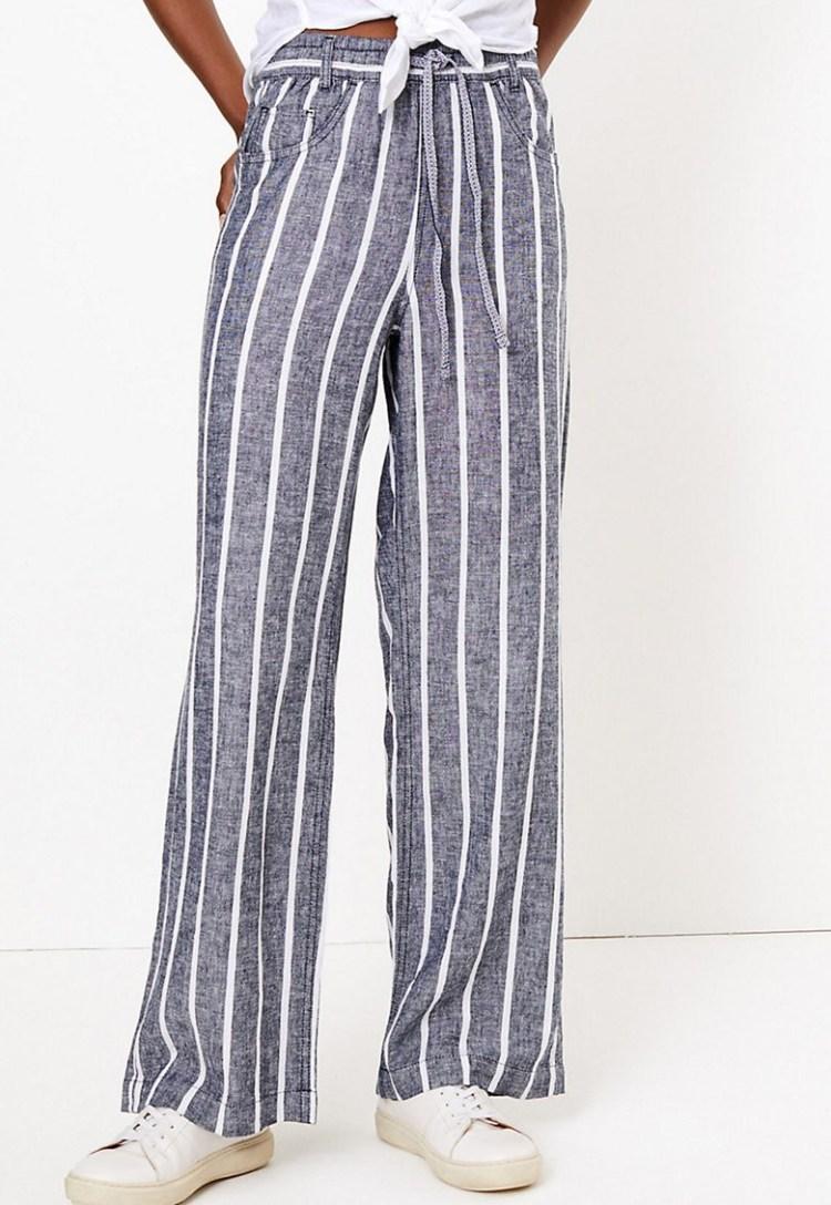 Pantaloni din amestec de in cu dungi Marc & Spencer