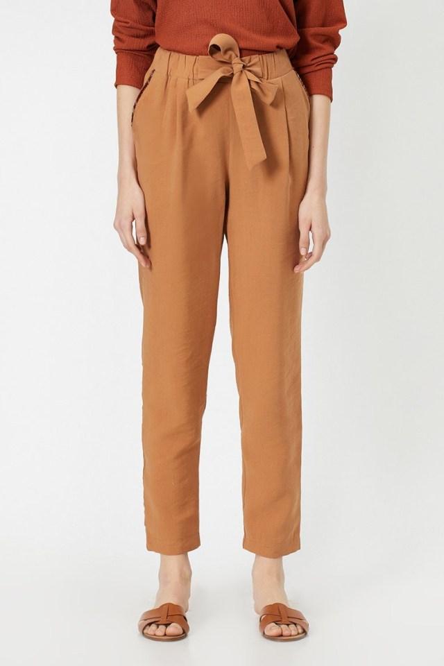 Pantaloni din amestec de lyocell cu talie elastica KOTON