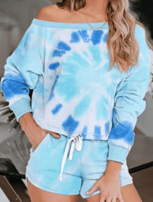 Pijama din doua piese albastru cu bleu