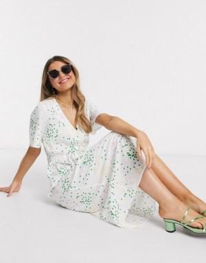 Rochie alba midi tip camasa cu buline verzi