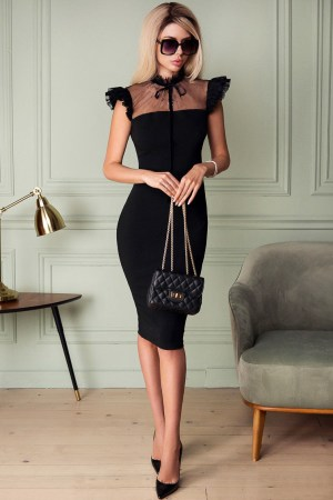 Rochie de seara eleganta si rochie de ocazie scurta neagra din crep
