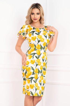 Rochie de zi cu imprimeu lalele galbene si maneci fluture