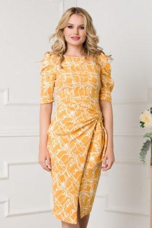 Rochie elaganta conica galbena cu imprimeu geometric si nod stilizat