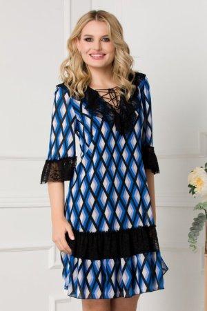 Rochie eleganta din voal cu imprimeu geometric si volane din dantela