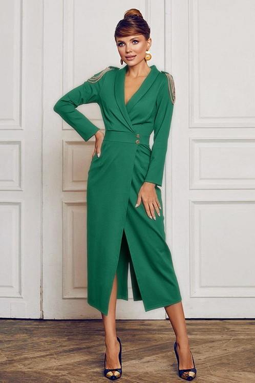 Rochie eleganta si rochie lunga de zi verde cu epoleti
