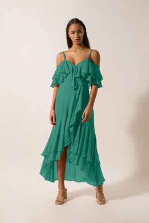 Rochie eleganta si rochie midi de zi verde cu decolteu in V din voal