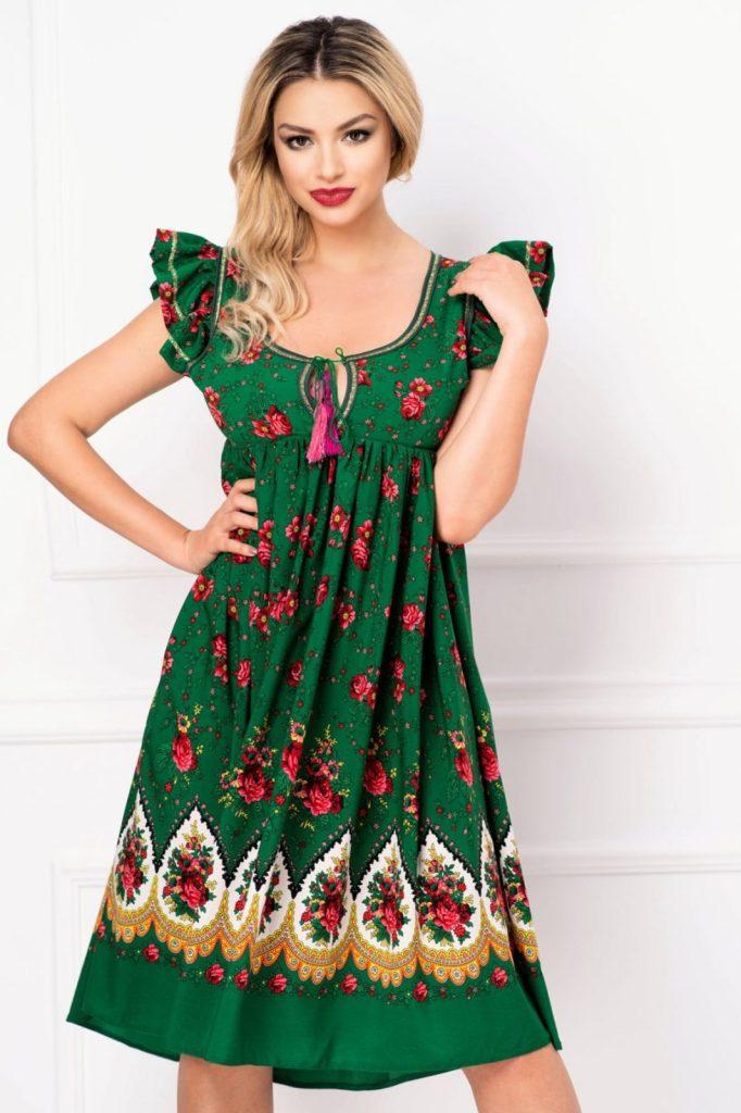 Rochie lejera verde cu decupaj la spate si imprimeu floral Inpuff