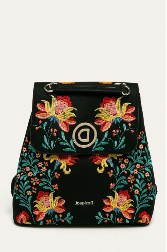 Rucsac din piele ecologica cu imprimeu floral