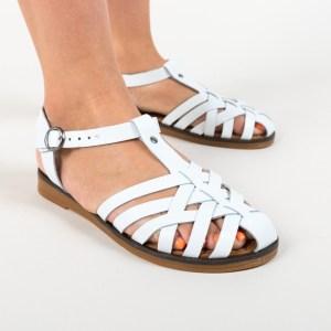 Sandale albe din piele naturala