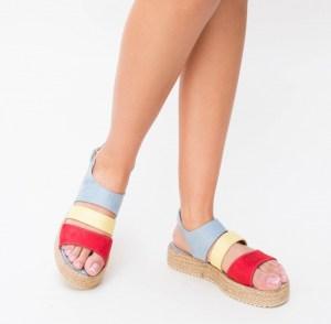 Sandale cu talpa joasa din piele eco multicolore